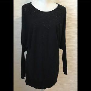 DKNY Black Blouse Tunic Sequins Embellished